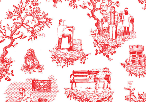 Chinatown Toile Wallpaper by Flavor Paper