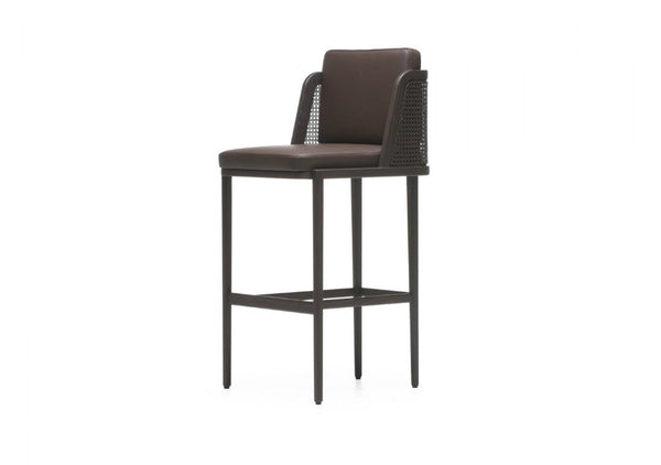 Throne Upholstered Barstool with Rattan by Autoban