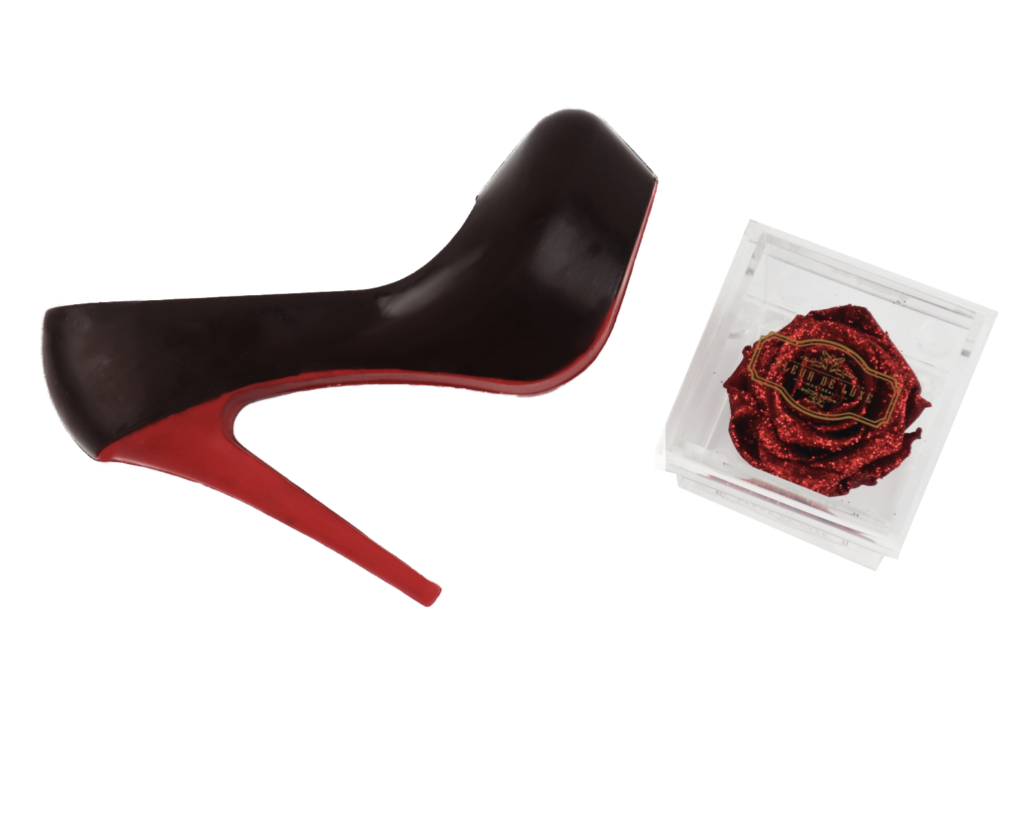 **Choco Louboutin & Eternal RED Rose in acrylic box