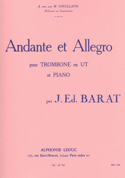 Andante and Allegro for Trombone and Piano by J. Barat, pub. Leduc