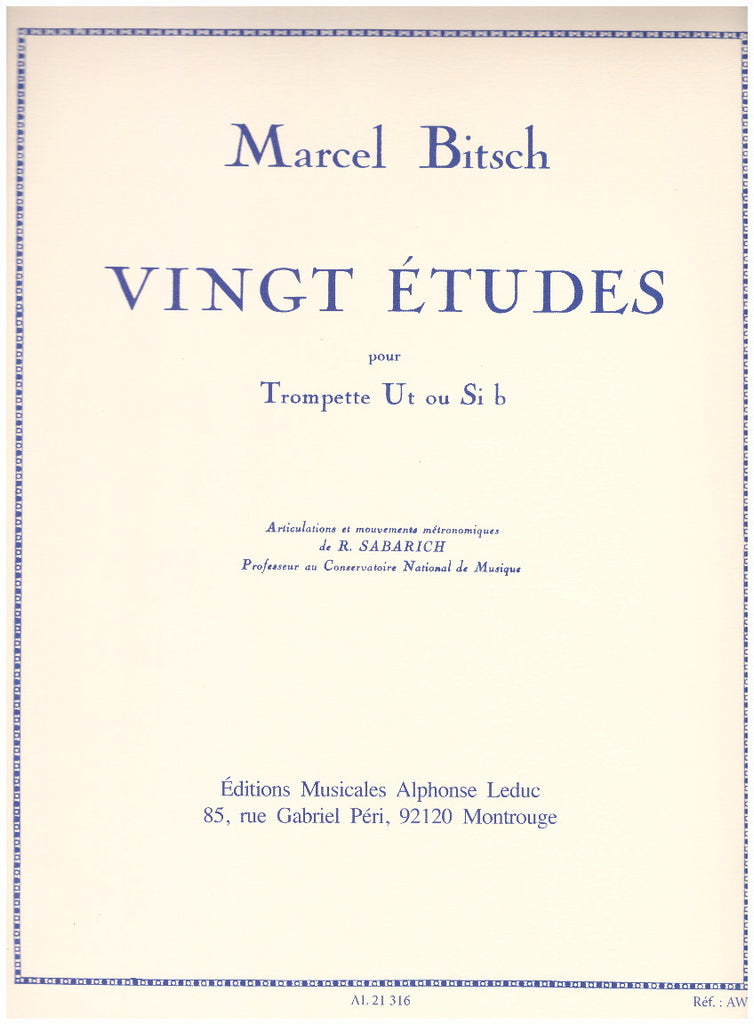 20 Etudes for Trumpet by Marcel Bitsch, pub. Leduc