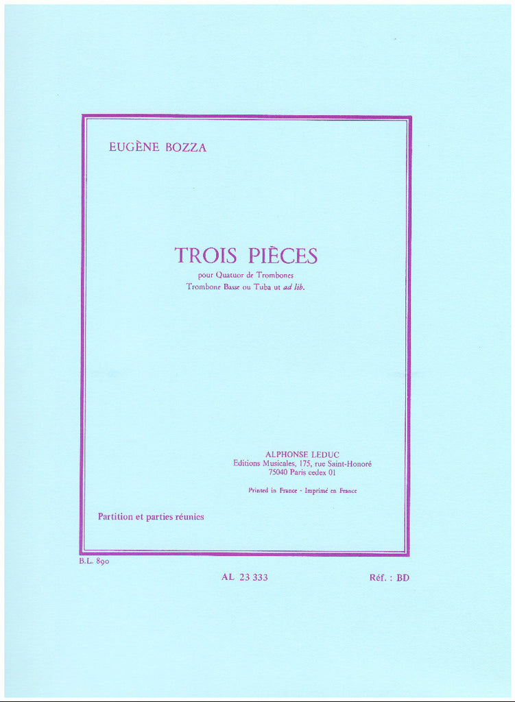3 Pieces for Trombone Quartet by Eugene Bozza, pub. Leduc