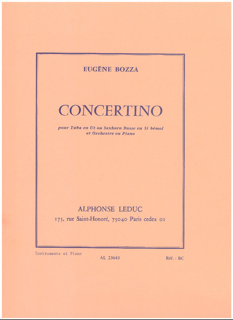 Concertino for Tuba and Piano by Eugene Bozza, pub. Leduc