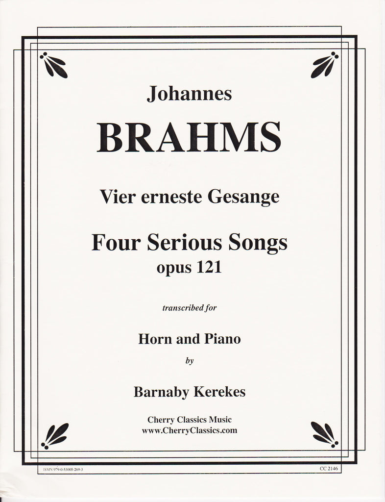 Four Serious Songs for Horn and Piano by Johannes Brahms, pub. Cherry Classics