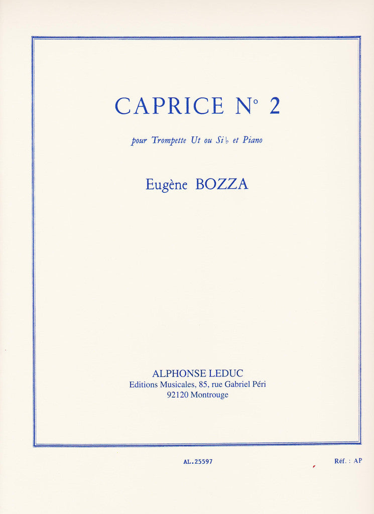 Caprice No. 2 for Trumpet and Piano by Eugene Bozza, pub. Leduc