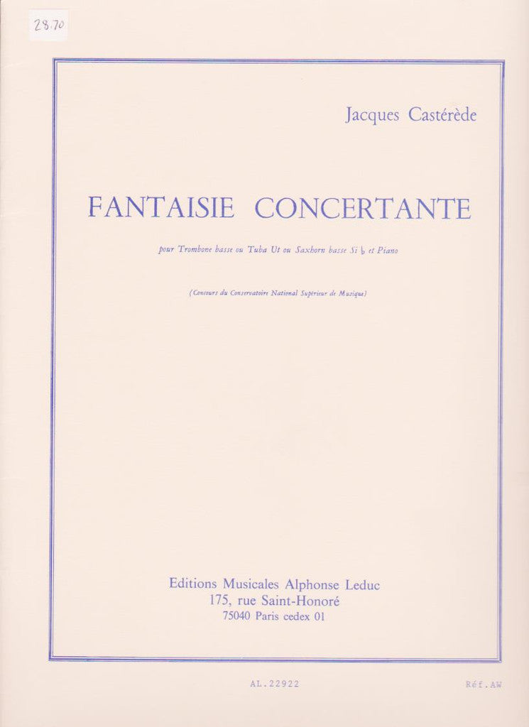 Fantasie Concertante for Bass Trombone or Tuba and Piano by Jacques Casterede, pub. Leduc Hal Leonard