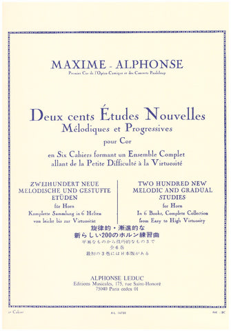 200 New Melodic and Gradual Studies for Horn in Six Books by Maxime-Alphonse, pub. Leduc