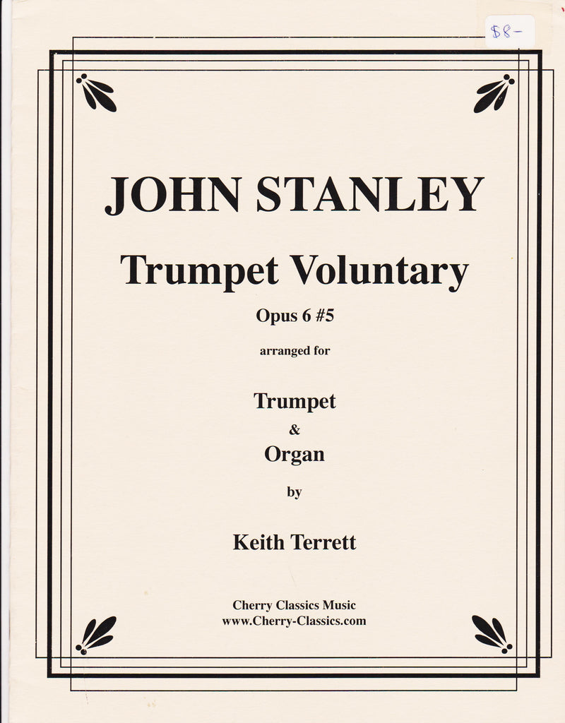 Trumpet Voluntary for Trumpet & Organ by John Stanley, pub. Cherry Classics