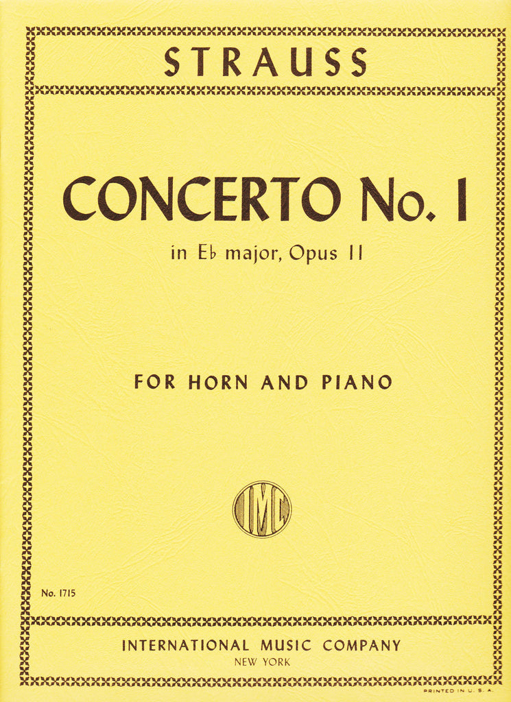 Concerto No. 1 in Eb Op. 11 for Horn & Piano by Richard Strauss, pub. International