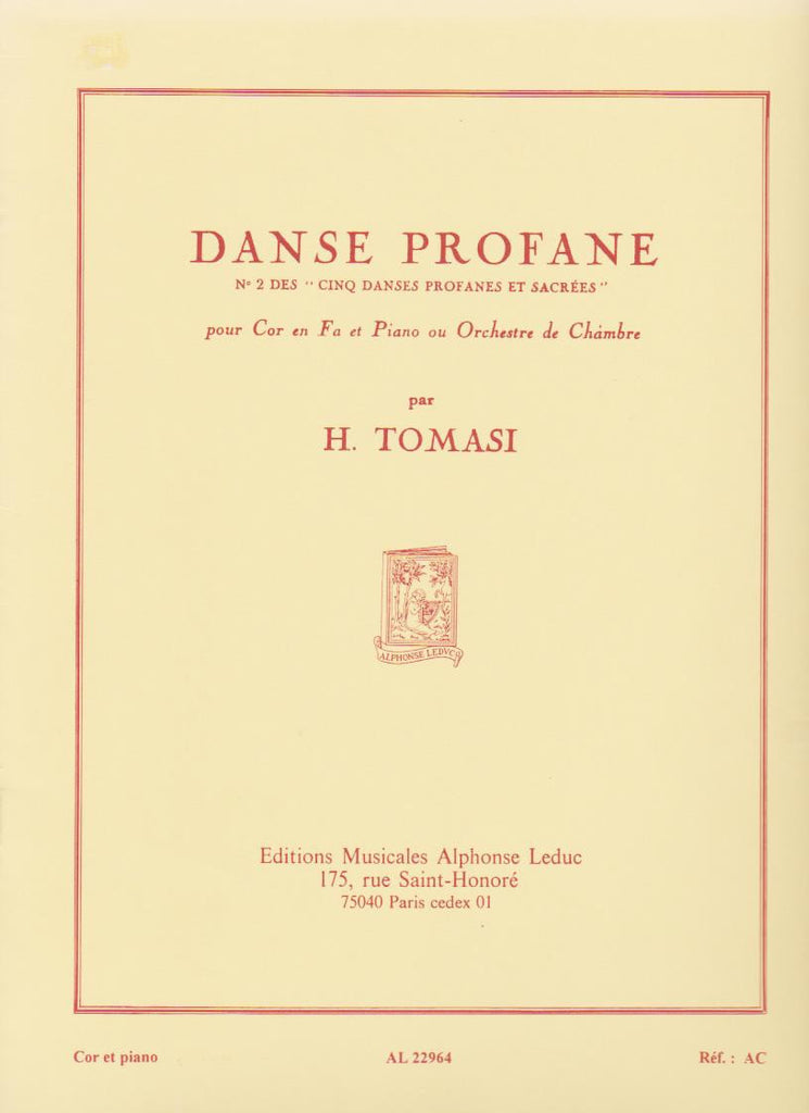 Danse Profane  for Horn and Piano by Henri Tomasi, pub. Leduc
