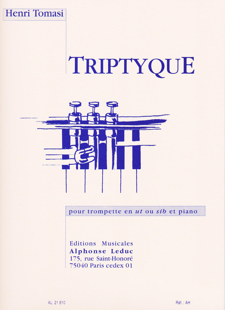 Triptyque for Trumpet and Piano by Henri Tomasi, pub. Leduc