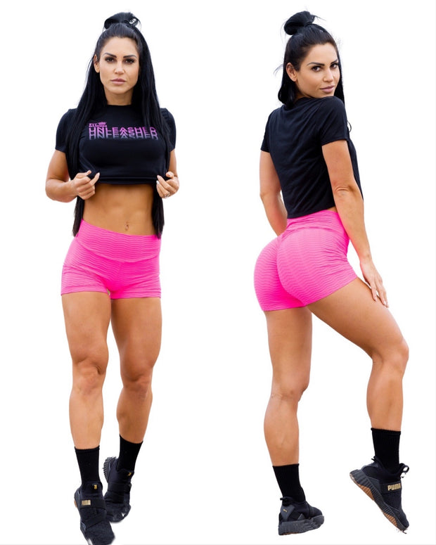 Bundle & Save!  Unleashed Crop T-Shirt + No Cellulite Booty Scrunch Shorts!!