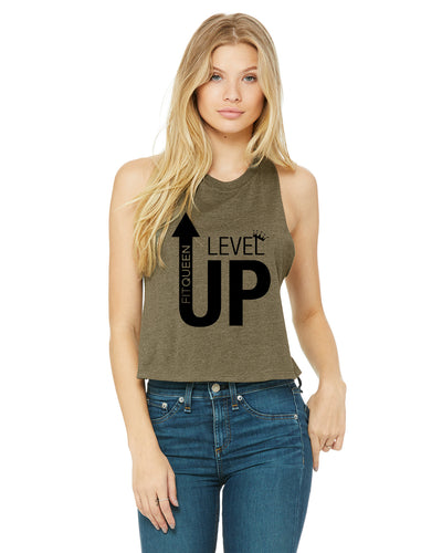 Level Up Crop Racerback Tank!!