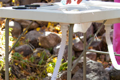 Drain hoses in use on the Ultimate Outdoor Work Station.