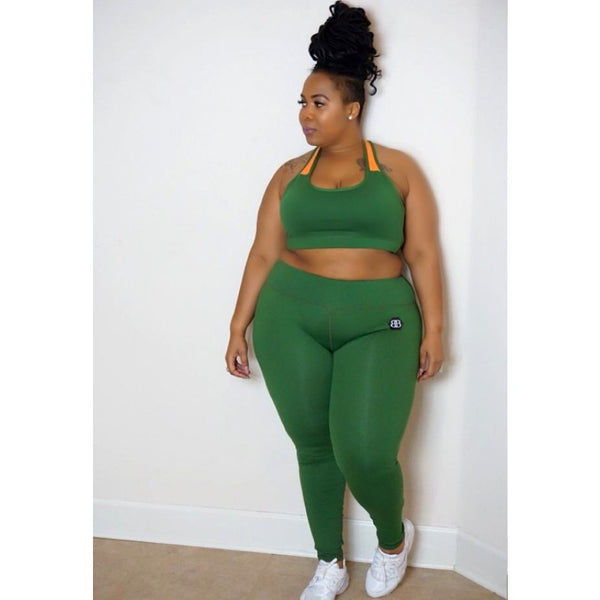 IN THE MIX GREEN SPORTS BRA