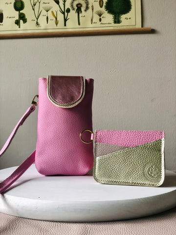 Crossbody Pouch & Cardholder in Pink