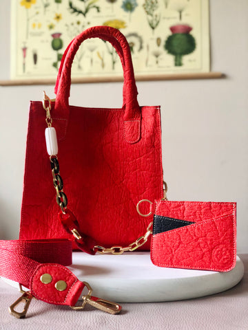 VEGAN Crossbody Satchel & Cardholder in Red