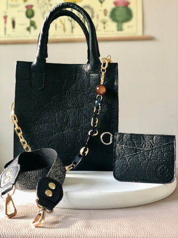 VEGAN Crossbody Satchel & Cardholder in Black
