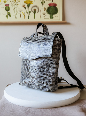 Daisy ~ Small Backpack in Black Snake Print (Leather)