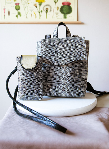 Backpack & Crossbody Pouch in Black Snake Print