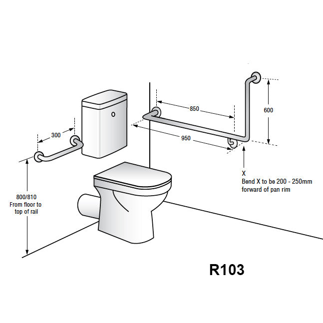 grab rail 90° flush mount side wall & cistern grab rail set