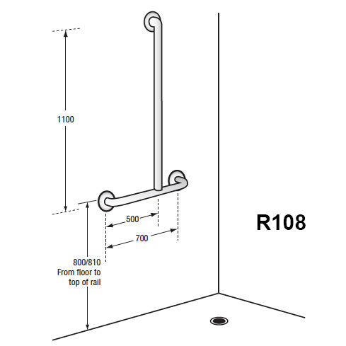 offset flush mount shower grab rail