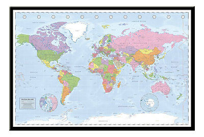 Political World Map (Miller Projection) Maxi Poster