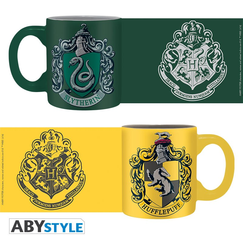 Harry Potter - Set 2 mini-mugs - 110 ml - Slytherin & Hufflepuff x2