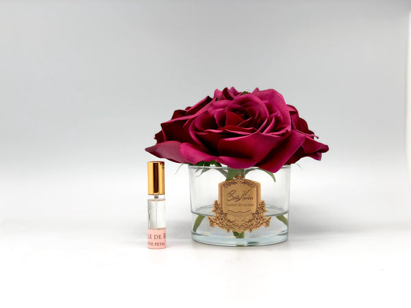 Cote Noire Perfumed Natural Touch 5 Roses - Clear - Carmine Red - Burgundy Box - GMR90