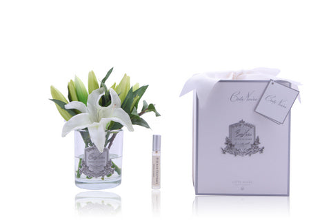 Côte Noire Perfumed Oriental Lilies in Clear Glass - Ivory
