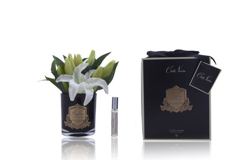Côte Noire Perfumed Oriental Lilies in Black Glass - Ivory