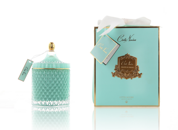 Grand Tiffany Blue Art Deco Candle