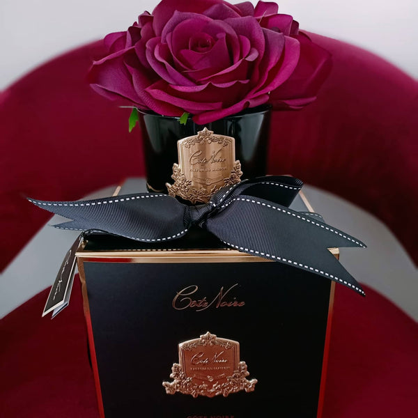 Côte Noire Perfumed Natural Touch 5 Roses in Carmine Red BLACK Glass - GMRB64