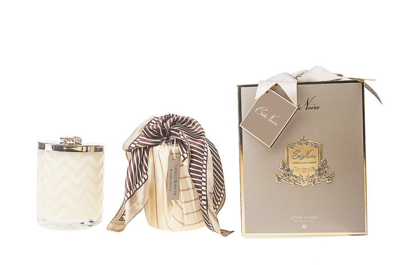 Herringbone Candle With Scarf Blond Vanilla - Cream & Golden Bee lid - HCG03