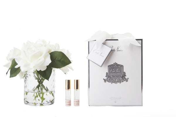 Cote Noire - Herringbone Flower - 5 French Roses - Clear - Ivory White - HCF31