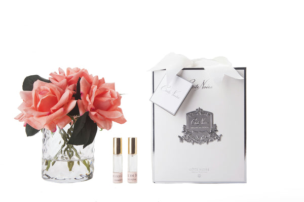 Cote Noire - Herringbone Flower - 5 French Roses - Clear - White Peach - HCF35