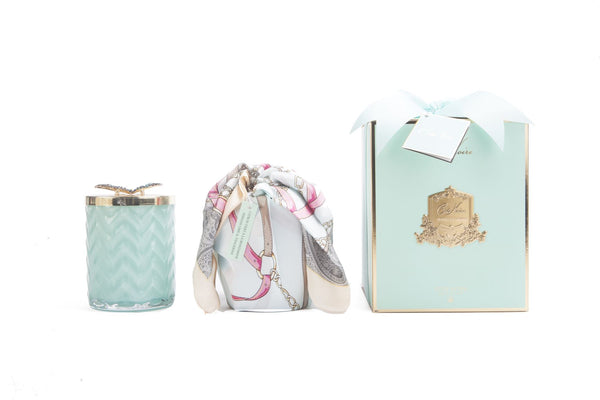 COTE NOIRE - HERRINGBONE CANDLE WITH SCARF - JADE - BUTTERFLY LID - HCG51