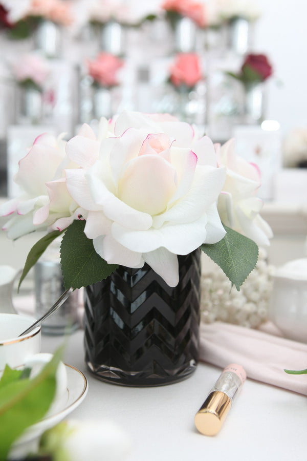 Cote Noire - Herringbone Flower Black - Blush Roses - HCF01