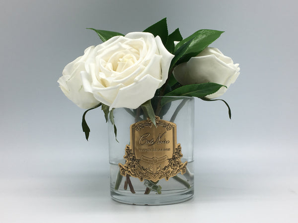 Camelia Roses - Clear Glass - White - SFR40