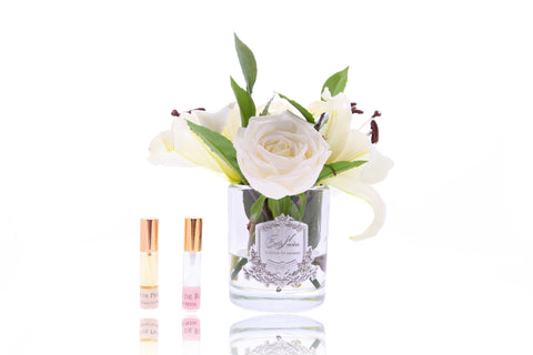 Côte Noire Premium Lilies & Roses in Clear Glass - Ivory