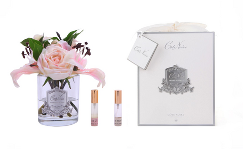 Côte Noire Premium Lilies & Roses in Clear Glass - Pink Blush