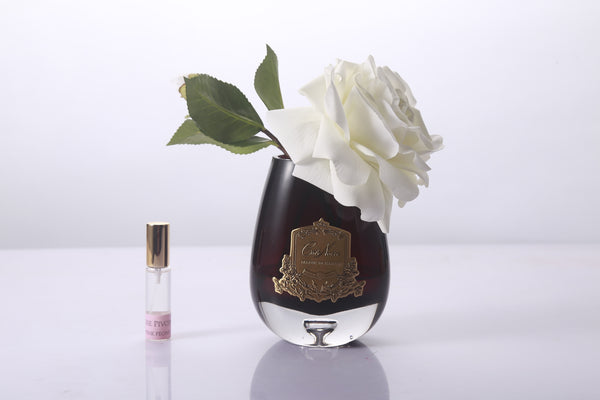 Cote Noire -Tear Drop Tea Rose in Dark Glass - Ivory White - STR02