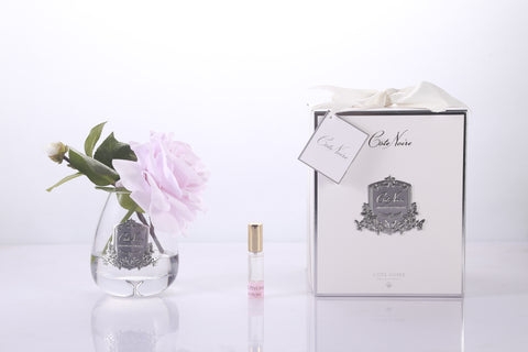 Cote Noire - Tear Drop Tea Rose in Clear Glass - French Pink