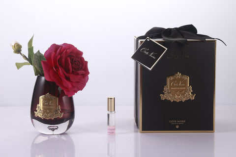Cote Noire -Luxury Range Tea Rose Black Glass - Carmine Red