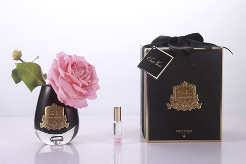 Cote Noire Luxury Range Tea Rose Black Glass-White Peach