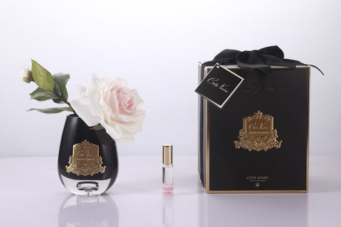 Cote Noire - Luxury Range Tea Rose in Black Glass - Pink Blush