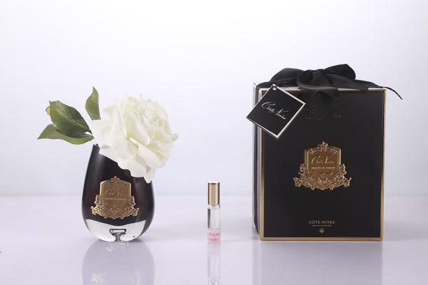 Cote Noire -Tear Drop Tea Rose in Black Glass - Ivory White - STR02