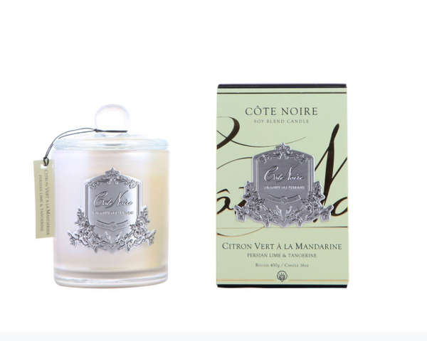Côte Noire 450g Soy Blend Candle - Persian Lime and Tangerine - Silver - GMS45022