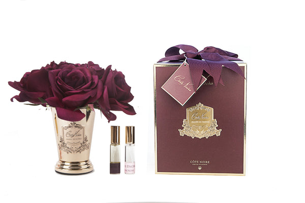 Cote Noire - Seven Rose Bouquet - Carmine Red - Gold Goblet - SMC04