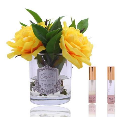 Côte Noire Perfumed Yellow English Rose in Clear Glass